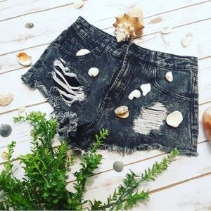 Black Acid Wash Destructed Hi Waist Denim Shorts